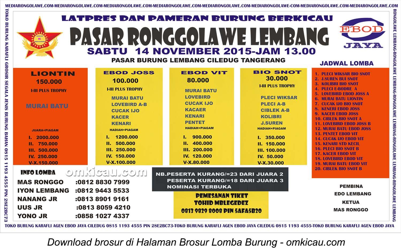 Brosur Latpres Burung Berkicau Pasar Ronggolawe Lembang, Tangerang, 14 November 2015