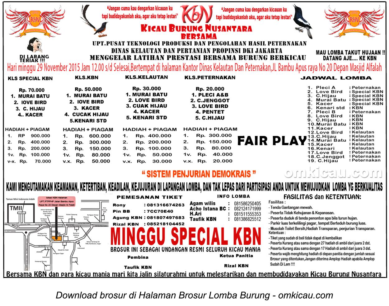 Brosur Latpres Kicau Burung Nusantara (KBN), Jakarta Timur, 28 November 2015