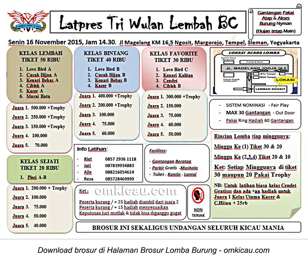 Brosur Latpres Triwulan Lembah BC, Sleman, Senin 16 November 2015