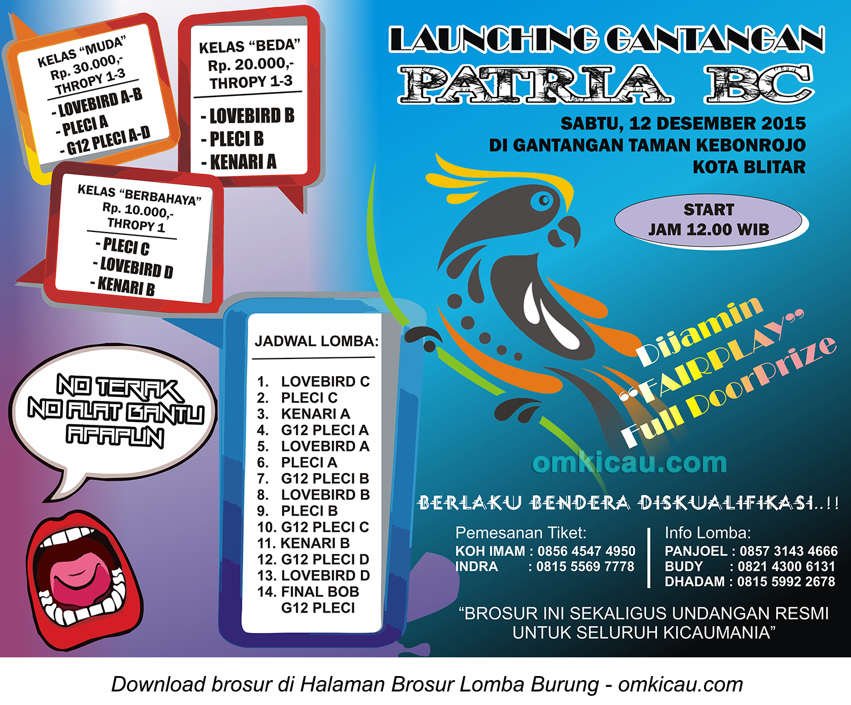 Brosur Launching Gantangan Patria BC, Kota Blitar, 12 Desember 2015