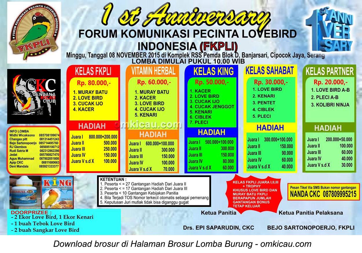 Brosur Lomba Burung Berkicau 1st Anniversary FKPLI, Serang, 8 November 2015