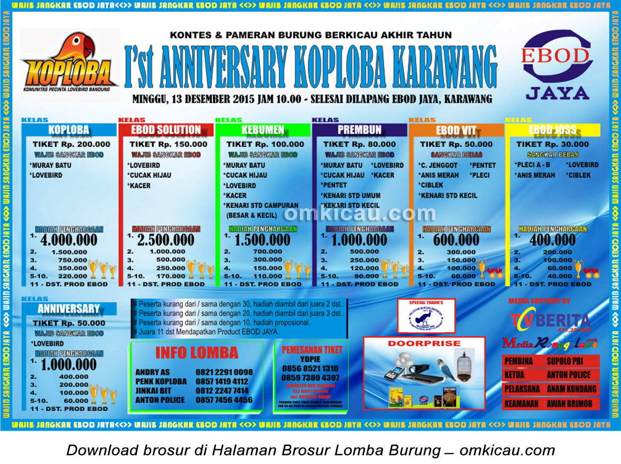Brosur Lomba Burung Berkicau 1st Anniversary Koploba Karawang, 13 Desember 2015