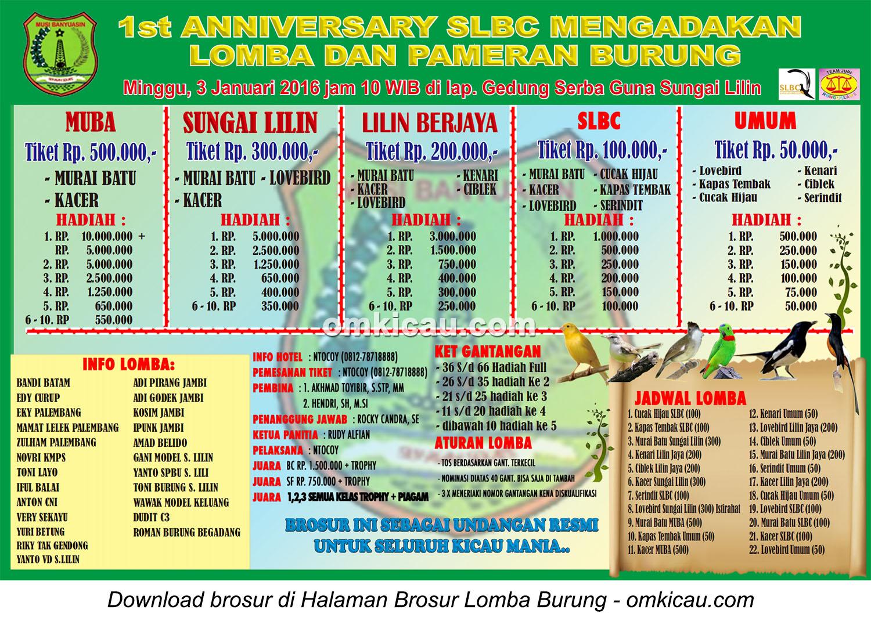 Brosur Lomba Burung Berkicau 1st Anniversary SLBC, Sungai Lilin, 3 Januari 2016