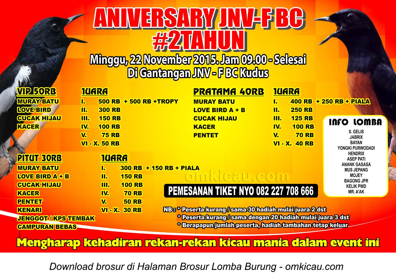 Brosur Lomba Burung Berkicau 2nd Anniversary JNV-F BC, Kudus, 22 November 2015
