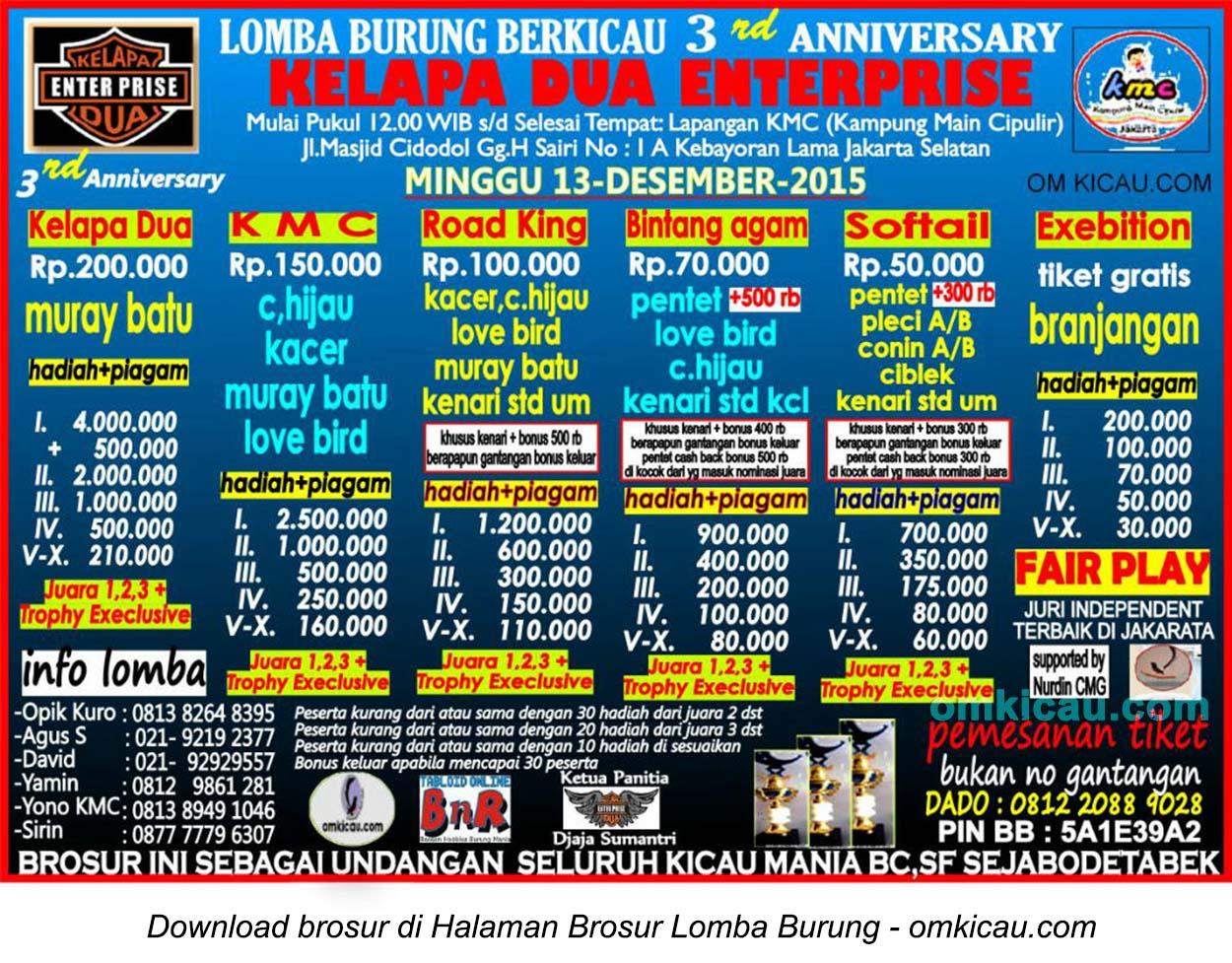 Brosur Lomba Burung Berkicau 3rd Anniversary Kelapa Dua Enterprise, Jakarta Selatan, 13 Desember 2015