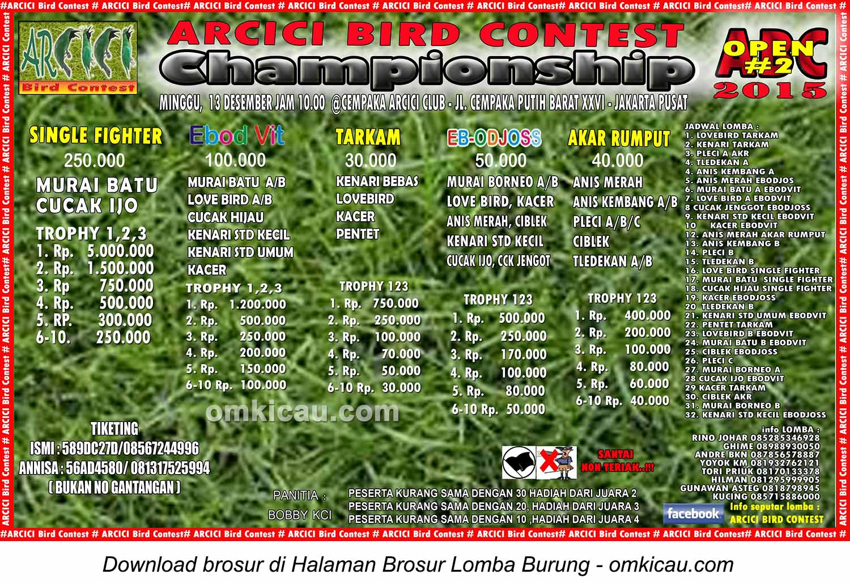 Brosur Lomba Burung Berkicau Arcici Bird Contest Championship-ABC Open #2, Jakarta, 13 Desember 2015