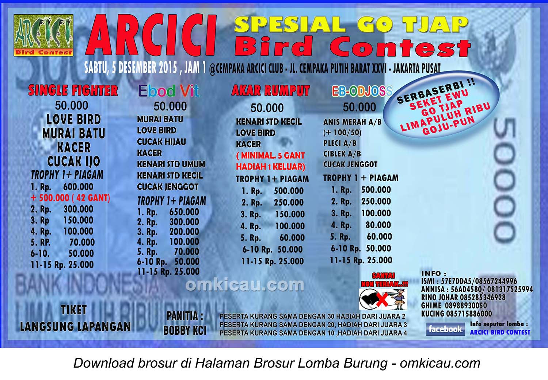 Brosur Lomba Burung Berkicau Arcici Special Go Tjap, Jakarta Pusat, 5 Desember 2015