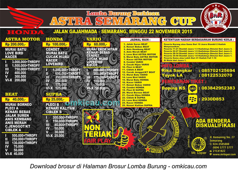 Brosur Lomba Burung Berkicau Astra Semarang Cup, 22 November 2015