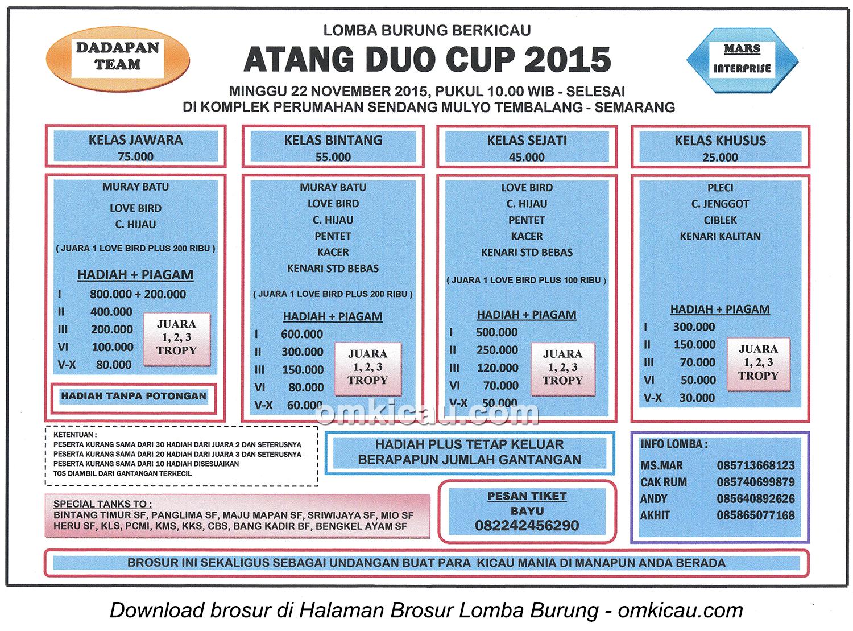 Brosur Lomba Burung Berkicau Atang Duo Cup, Semarang, 22 November 2015