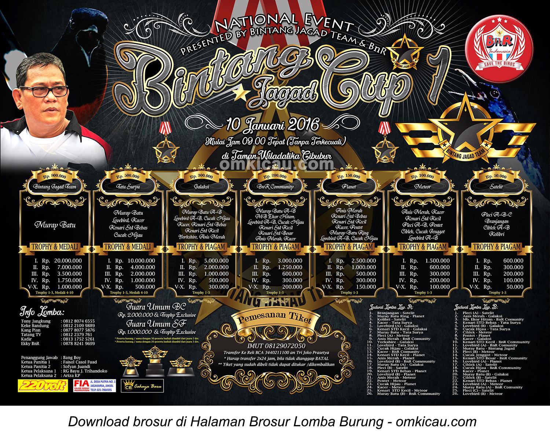 Brosur Lomba Burung Berkicau Bintang Jagad Cup 1, Jakarta, 10 Januari 2015