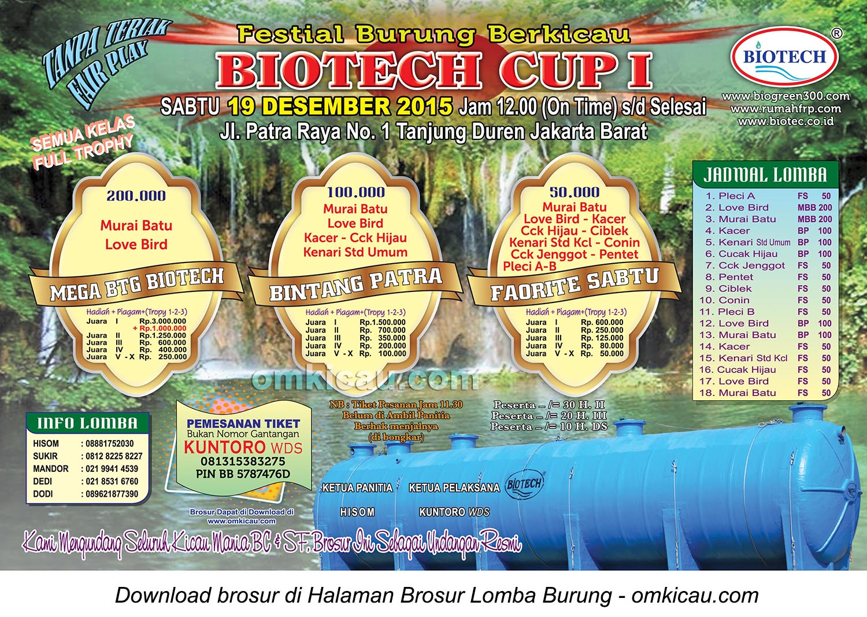 Brosur Lomba Burung Berkicau Biotech Cup 1, Jakarta Barat, 19 Desember 2015