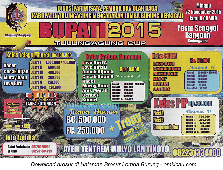 Brosur Lomba Burung Berkicau Bupati Tulungagung Cup, 22 November 2015