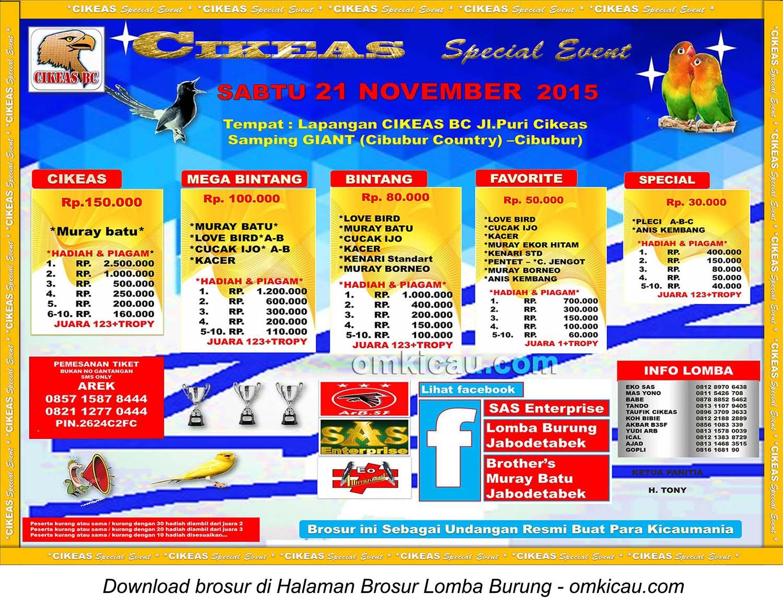 Brosur Lomba Burung Berkicau Cikeas Special Event, Cibubur, 21 November 2015