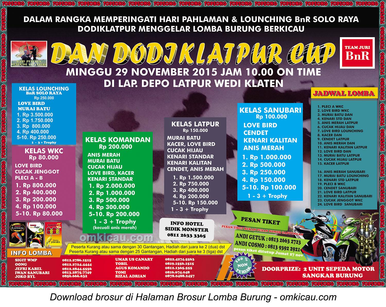 Brosur Lomba Burung Berkicau Dan Dodiklatpur Cup Klaten, Minggu 29 November 2015