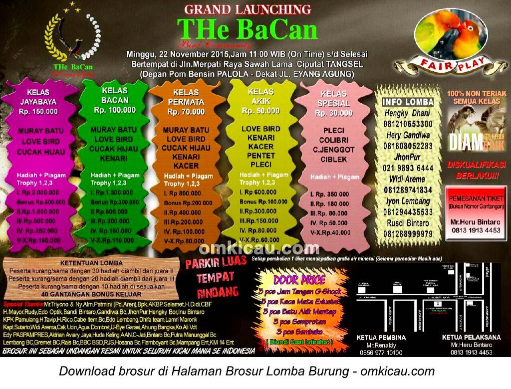 Brosur Lomba Burung Berkicau Grand Launching The Bacan, Tangerang Selatan, 22 November 2015