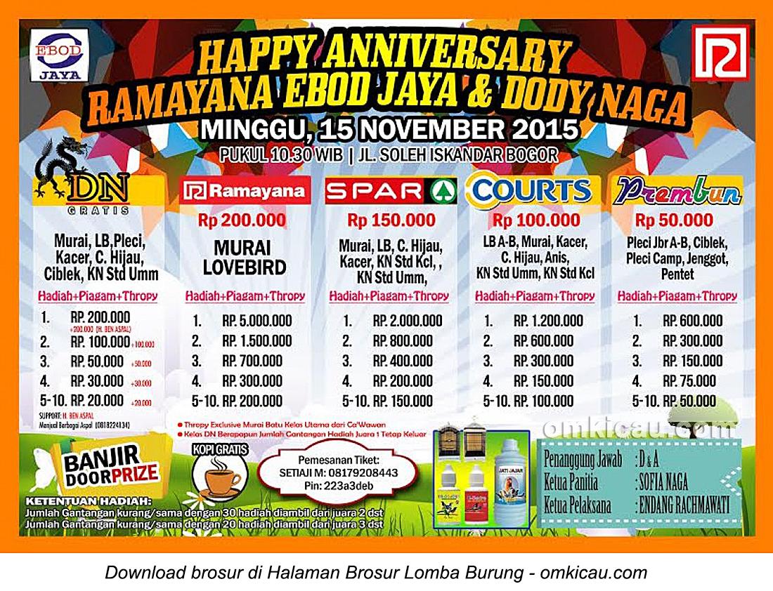 Brosur Lomba Burung Berkicau Happy Anniversary Ramayana Ebod Jaya-Dody Naga, Bogor, 15 November 2015