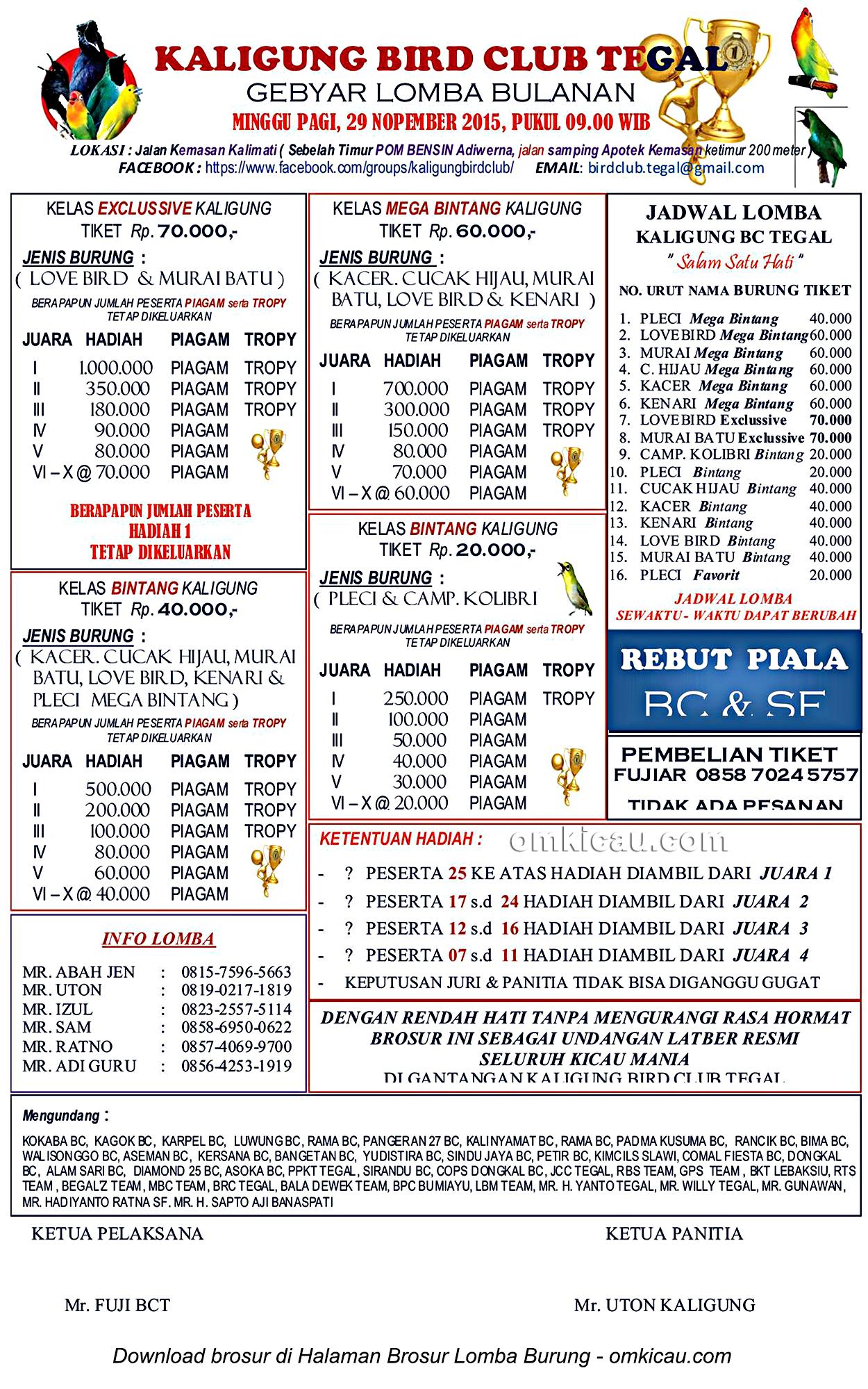 Brosur Lomba Burung Berkicau Kaligung BC, Tegal, 29 November 2015