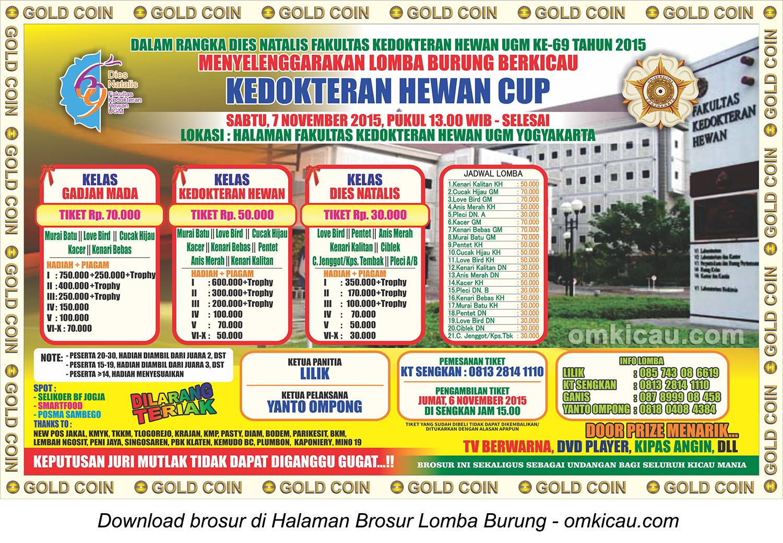 Brosur Lomba Burung Berkicau Kedokteran Hewan Cup, Jogja, 7 November 2015
