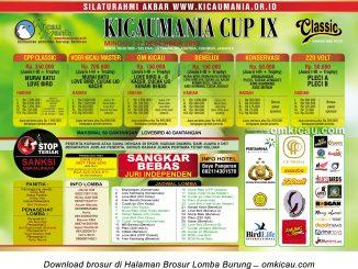 Brosur Lomba Burung Berkicau Kicaumania Cup IX, Jakarta, Minggu 27 Desember 2015