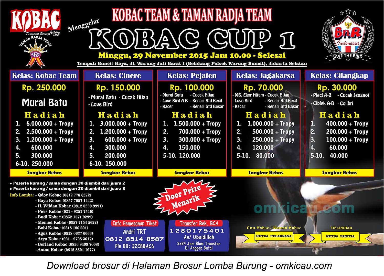 Brosur Lomba Burung Berkicau Kobac Cup 1, Jakarta Selatan, 29 November 2015