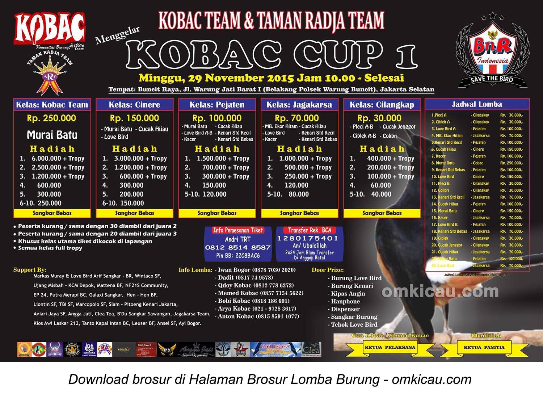 Brosur Lomba Burung Berkicau Kobac Cup 1, Jakarta Selatan, Minggu 29 November 2015