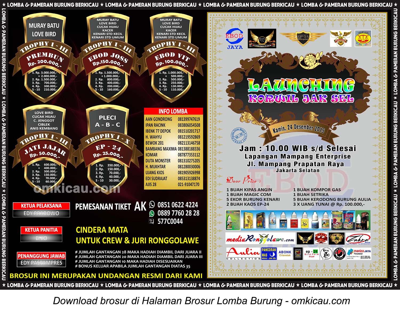 Brosur Lomba Burung Berkicau Launching Ronggolawe Korwil Jaksel, Kamis 24 Desember 2015
