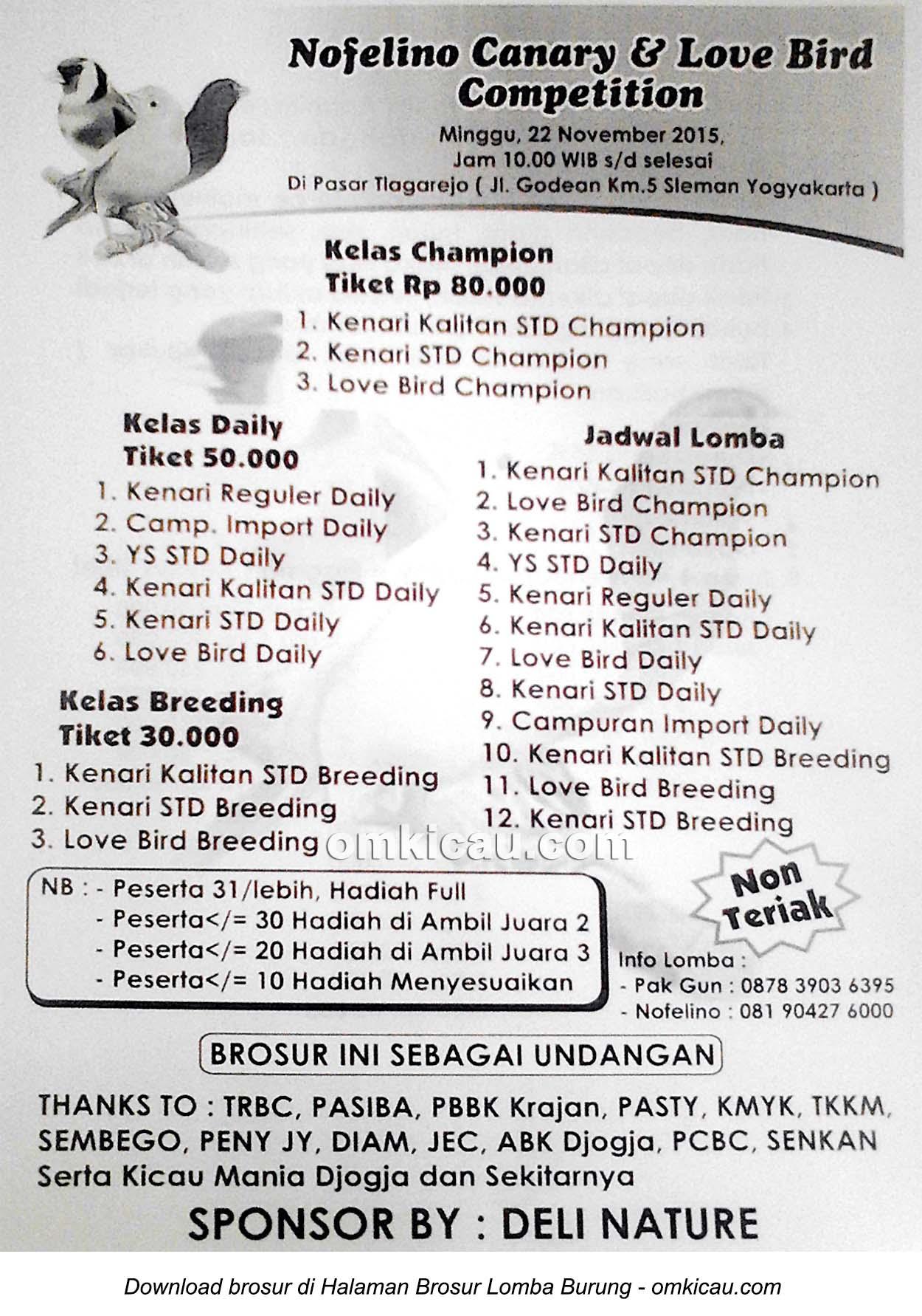 Brosur Lomba Burung Berkicau Nofelino Canary & Lovebird Competition, Jogja, 22 November 2015