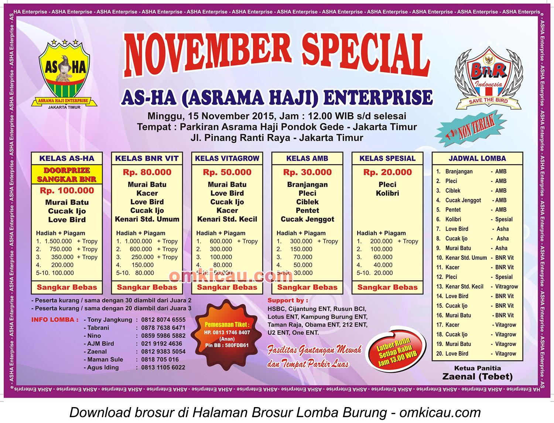 Brosur Lomba Burung Berkicau November Special AS-HA Enterprise, Jakarta Timur, 15 November 2015