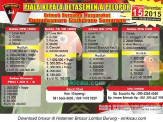 Brosur Lomba Burung Berkicau Piala Kepala Detasemen A Pelopor, Semarang, 15 November 2015