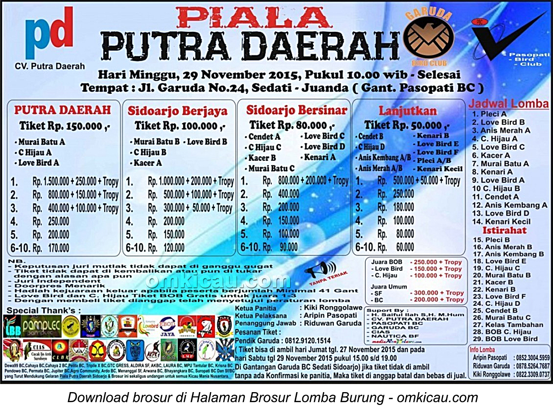 Brosur Lomba Burung Berkicau Piala Putra Daerah, Sidoarjo, 29 November 2015