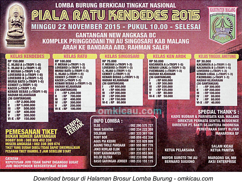 Brosur Lomba Burung Berkicau Piala Ratu Kendedes, Malang, 22 November 2015