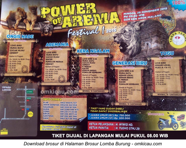 Brosur Lomba Burung Berkicau Power of Arema Festival, Malang, 29 November 2015