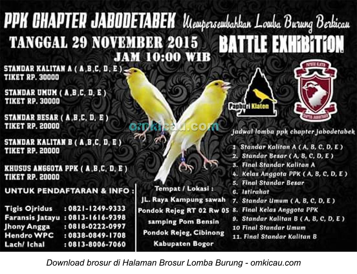 Brosur Lomba Burung Berkicau PPK Chapter Jabodetabek, Bogor, 29 November 2015