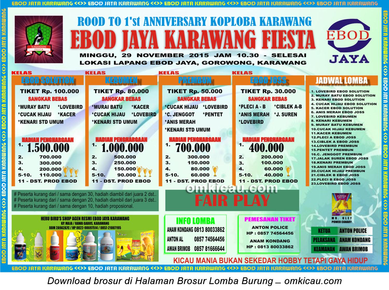 Brosur Lomba Burung Berkicau Road to 1st Anniversary Koploba Karawang,29 November 2015