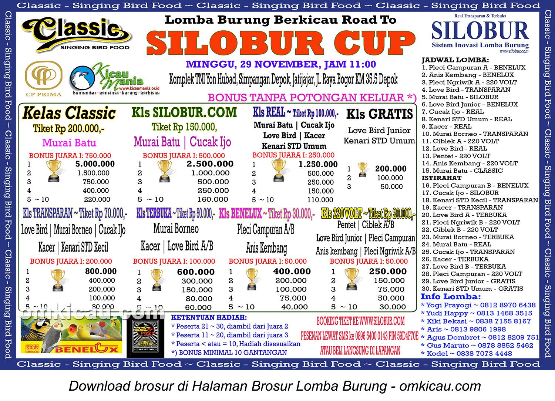 Brosur Lomba Burung Berkicau Road to Silobur Cup, Depok, Minggu 29 November 2015