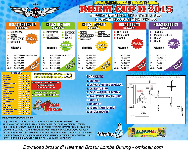 Brosur Lomba Burung Berkicau RRKM Cup II, Ponorogo, 20 Desember 2015