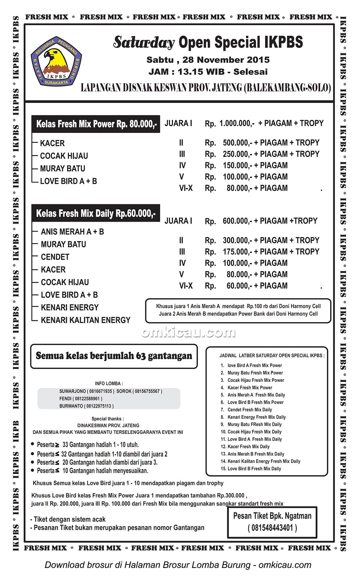 Brosur Lomba Burung Berkicau Saturday Open Special IKPBS, Solo, 28 November 2015