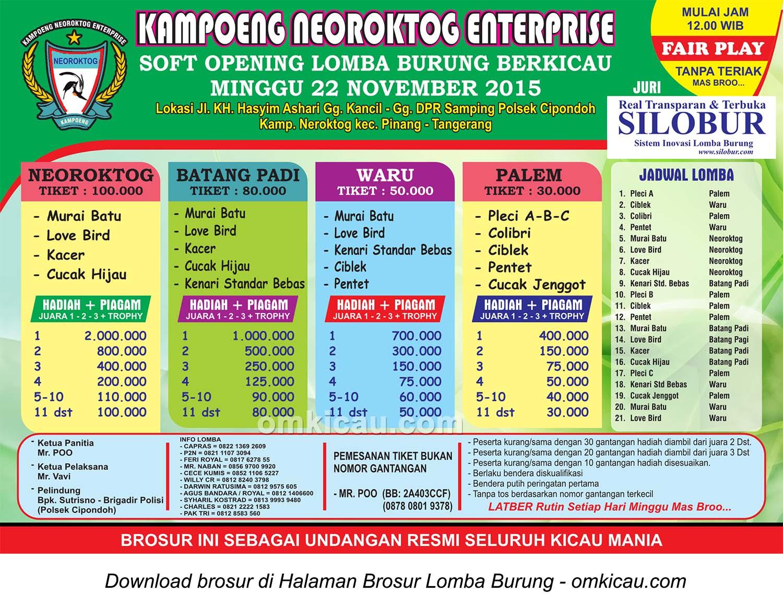 Brosur Lomba Burung Berkicau Soft Opening Kampoeng Neoroktog Enterprise, Tangerang, 22 November 2015
