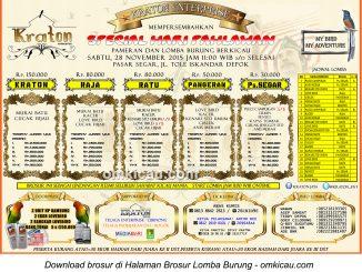 Brosur Lomba Burung Berkicau Special Hari Pahlawan - Kraton Enterprise, Depok, 28 November 2015