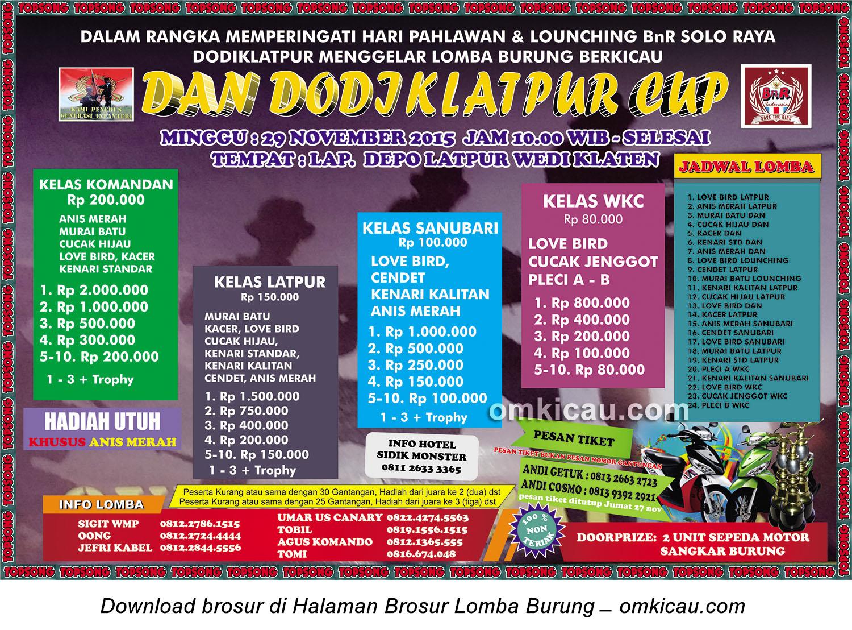Brosur Revisi Lomba Burung Berkicau Dan Dodiklatpur, Klaten, 29 November 2015