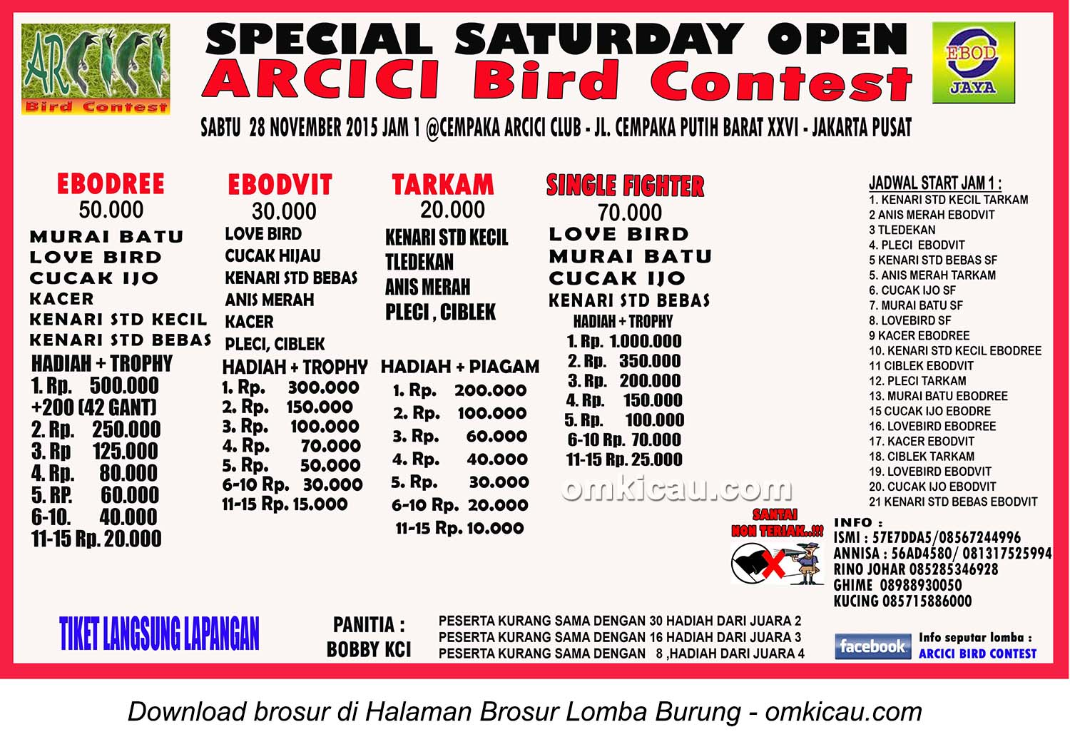 Brosur Special Saturday Open Arcici Bird Contest, Jakarta, 28 November 2015