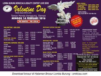 Brosur 1 Lomba Burung Berkicau Valentine Day PBI, Jogja, 14 Februari 2016