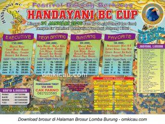Brosur Festival Burung Berkicau Handayani BC Cup, Gunungkidul, 31 Januari 2016