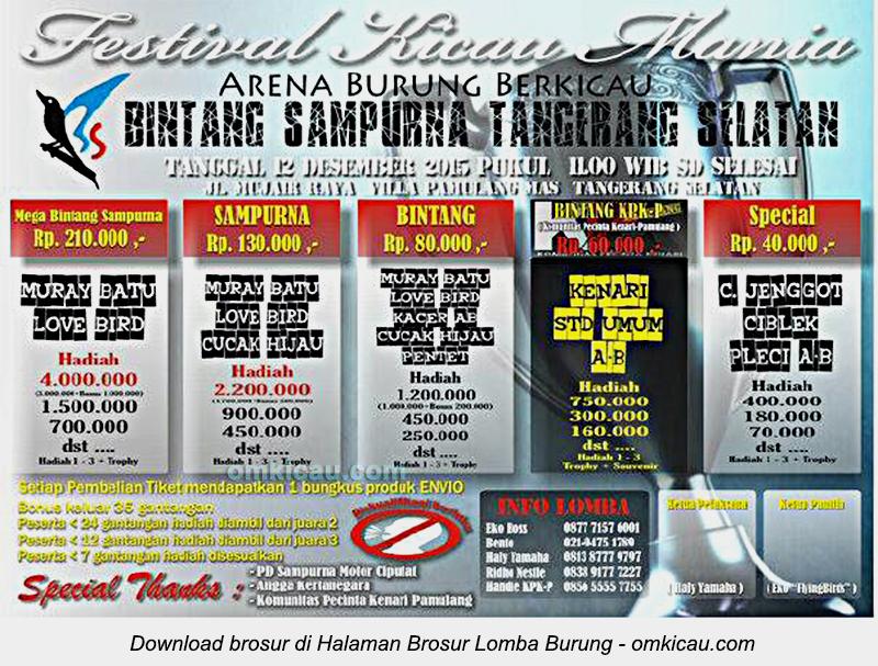 Brosur Festival Kicau Mania Bintang Sampurna, Tangerang Selatan, 12 Desember 2015
