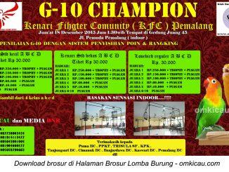 Brosur Latber Burung Berkicau G-10 Champion KFC, Pemalang, 18 Desember 2015
