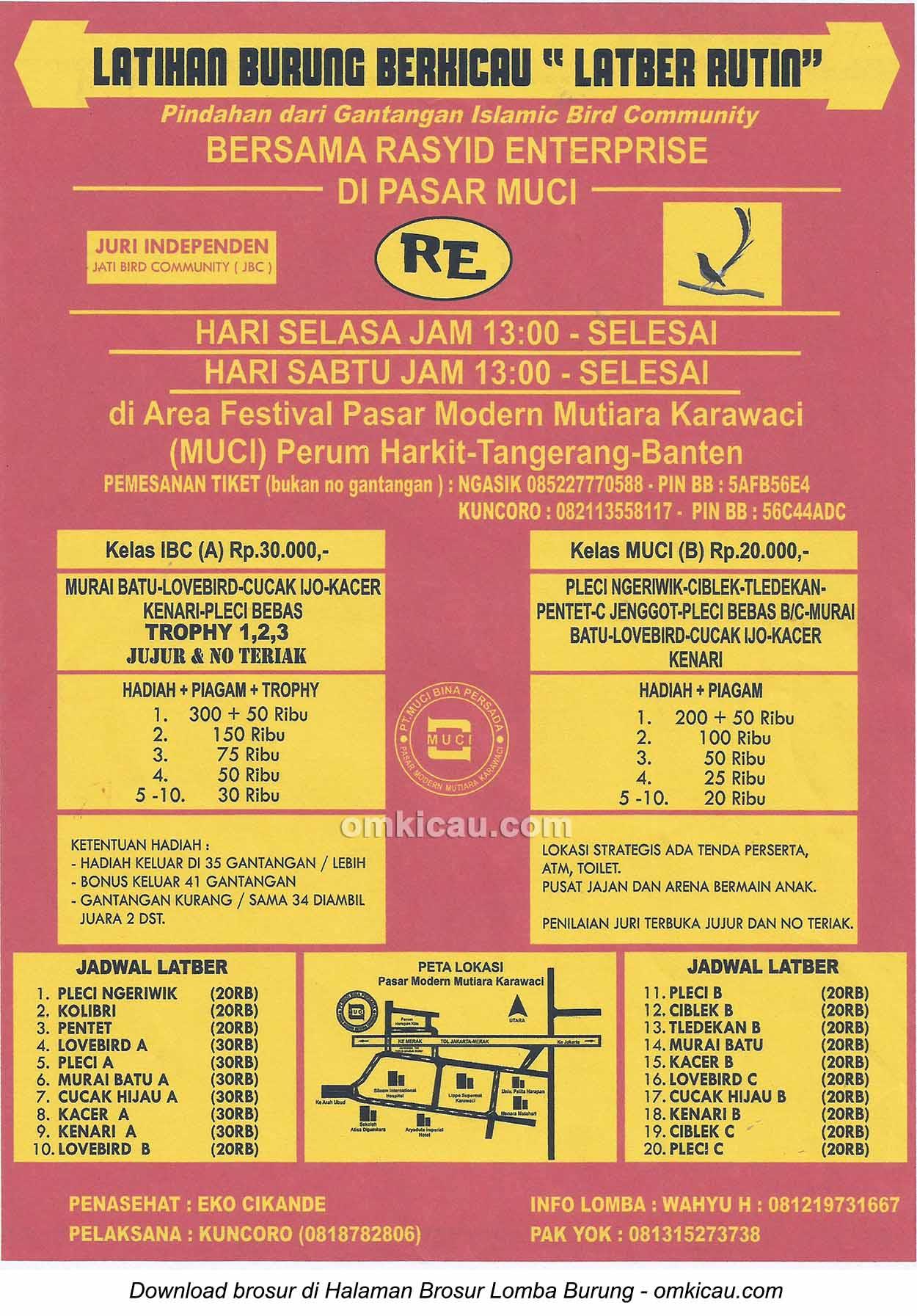 Brosur Latber Rutin Rasyid Enterprise, Tangerang, setiap Selasa dan Sabtu jam 13