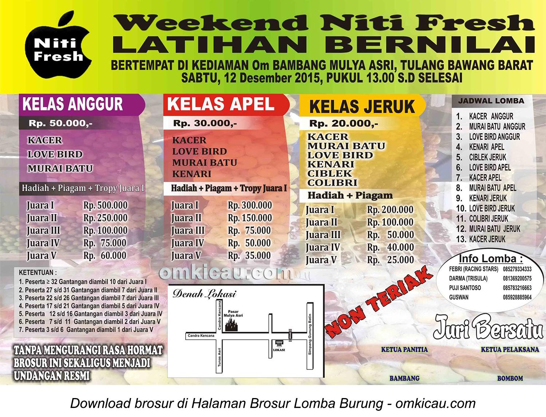 Brosur Latihan Bernilai Weekend Niti Fresh, Tulang Bawang Barat, 12 Desember 2015