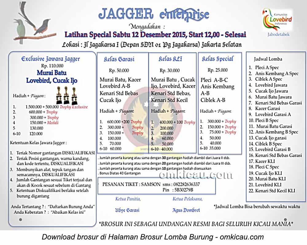 Brosur Latihan Special Jagger Enterprise, Jakarta Selatan, 12 Desember 2015