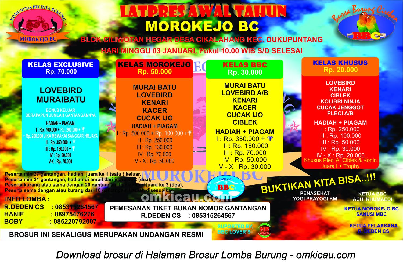 Brosur Latpres Awal Tahun Morokejo BC, Cirebon, 3 Januari 2016