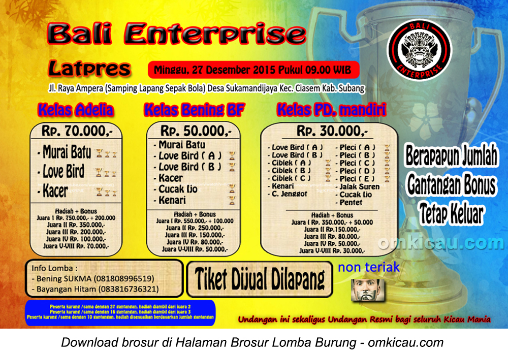 Brosur Latpres Burung Berkicau Bali Enterprise, Subang, 27 Desember 2015